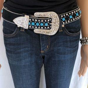 Pony hair turquoise stone studded belt